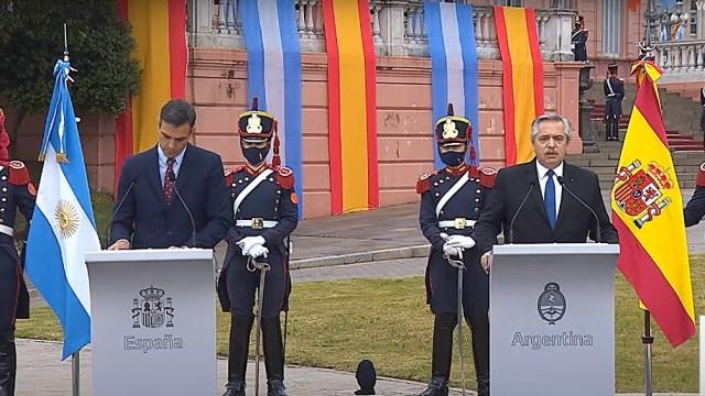 Conferencia de prensa de Pedro Sánchez y Alberto Fernández, en Casa Rosada.