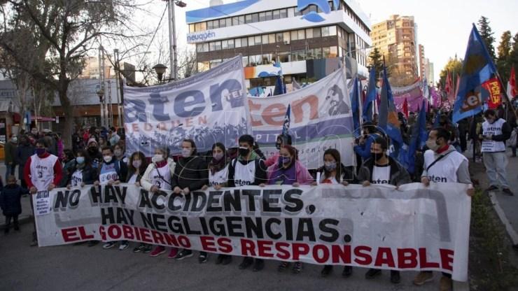 Marcha por la docente fallecida. Foto: David Sánchez