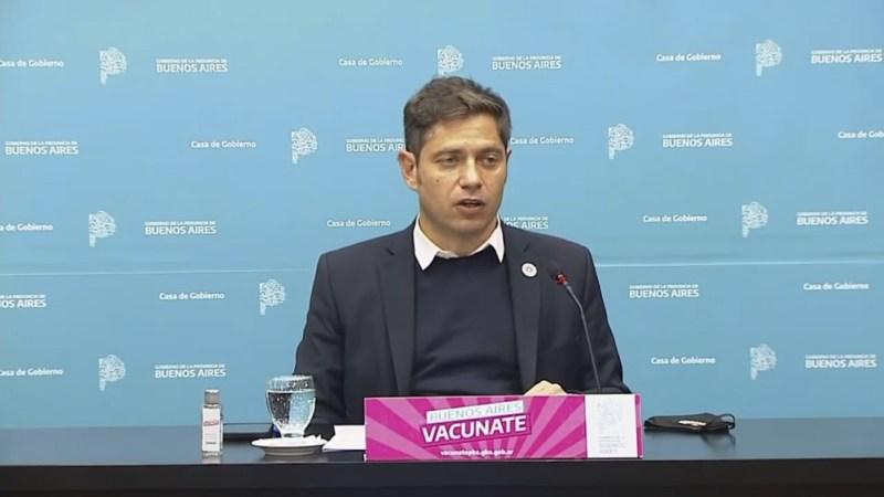Axel Kicillof anunció que habrá vacunación libre para mayores de 18 años a partir del viernes.