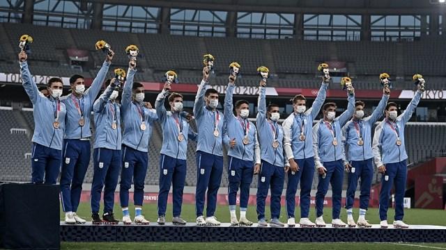 La medalla de bronce para Los Pumas '7 llegó tras la victoria en el encuentro por el tercer puesto ante su par de Gran Bretaña. Foto: AFP.