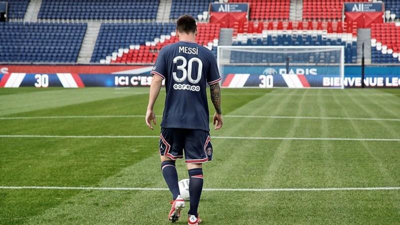 Messi en la presentación en el PSG.