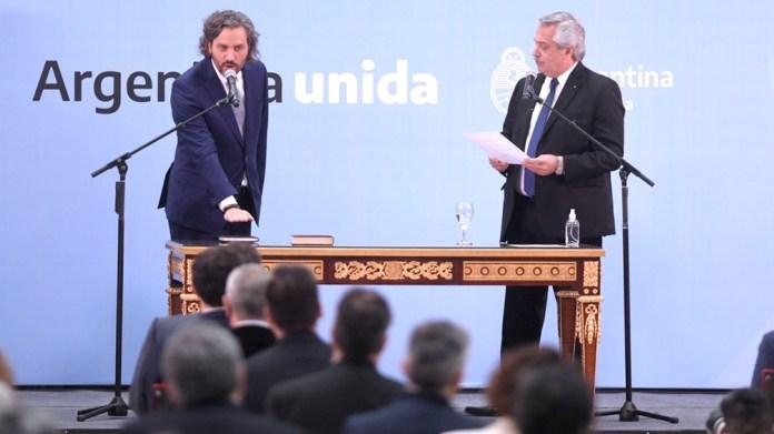 Santiago Cafiero al jurar como canciller. Foto: Julián Álvarez.