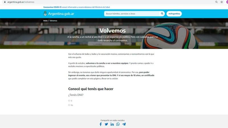 La web a la que los hinchas deberán ingresar para tramitar el permiso