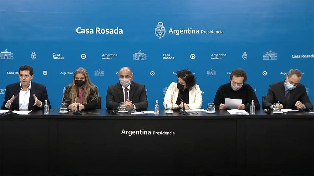 Conferencia de prensa de Manzur, Vizzotti, De Pedro, Carignano y Jordan Schwartzs.