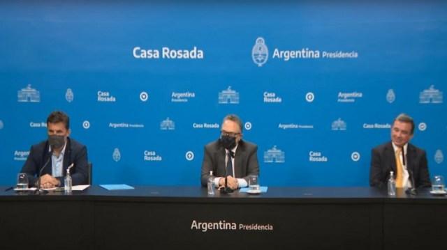 La conferencia de prensa en la Casa Rosada.