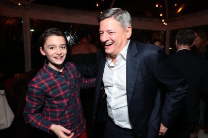 Noah Schnapp and Ted Sarandos, Chief Content Officer for Netflix