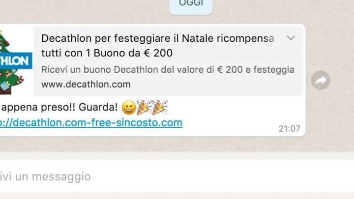 Buoni Decathlon, la nuova bufala su WhatsApp