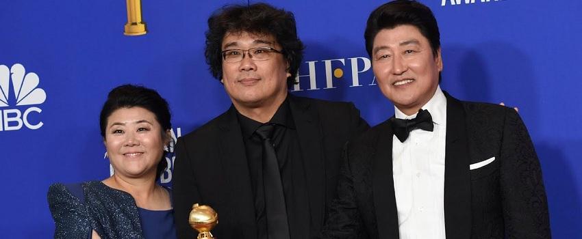 Golden Globe Awards 2020: vincitori e vinti - Bong Joon Ho e il cast di Parasite