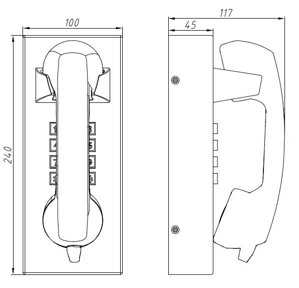 Drawing Telefono Antivandalico JR202-FK frente