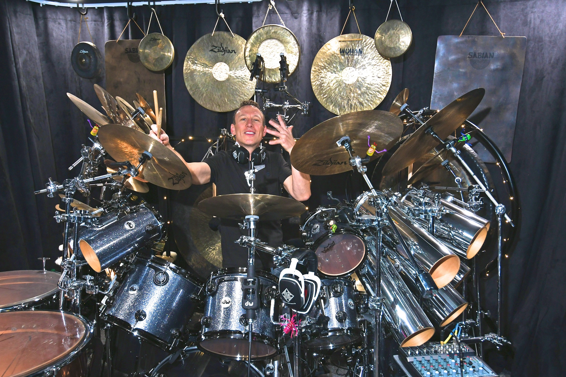 Pictured is Stephen Perkins with his drum kit and his TELEFUNKEN mics and headphones. Photo by David Goggin