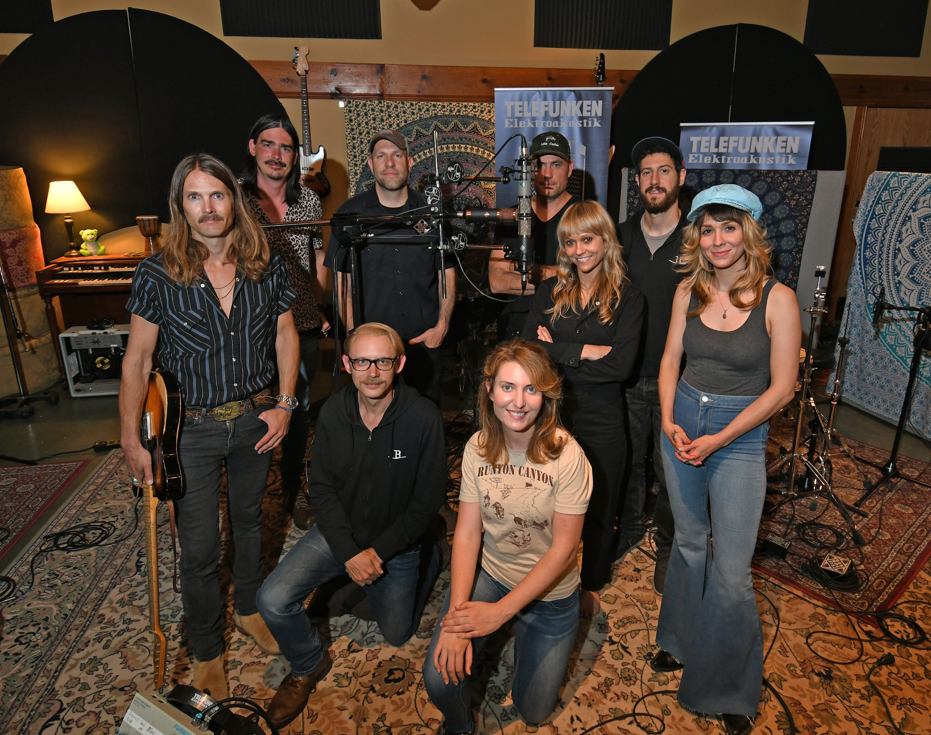 L to R: Eli Wulmeier (electric guitar, vocals), Ben Reddell (Rhodes), Alan Venitosh (TELEFUNKEN Director Of Operations), Daniel Christiansen (videographer), Kay Myers (backing vocals), Phil Feinman (Bedrock LA owner), Sei Sie Benhoff (backing vocals), Eric Rennaker (Bedrock Studio Engineer, kneeling left), Donniel Drew (videographer, kneeling right).