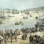 L'evacuazione del orgo di Gaeta durante l'armistizio. (Litografia Perrin 1861)
