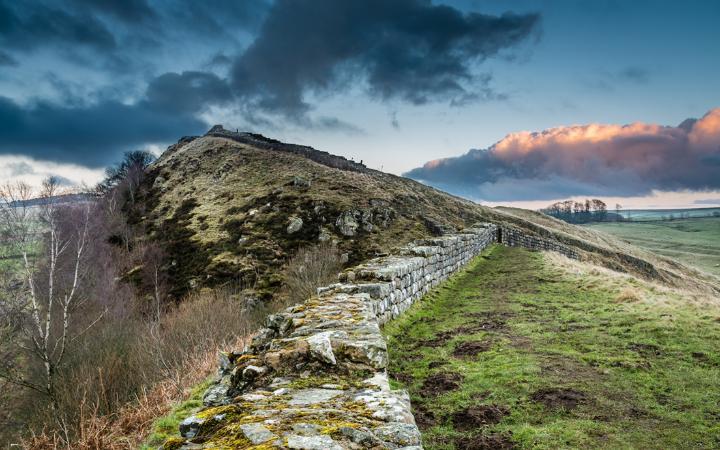 A walking path runs the length of Hadrian's Wall