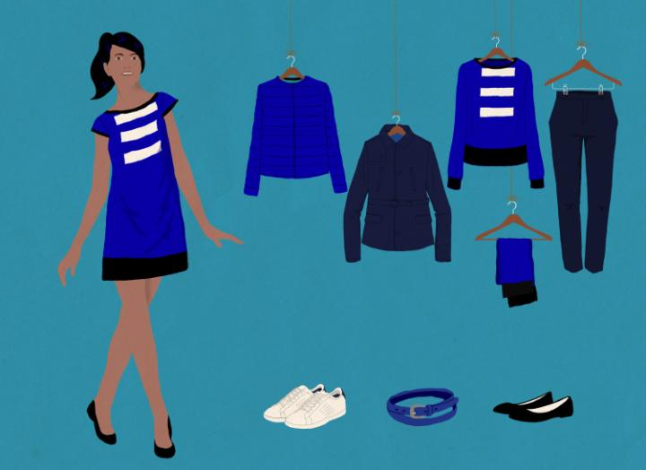 A sample of the uniforms for Joon's female flight attendants