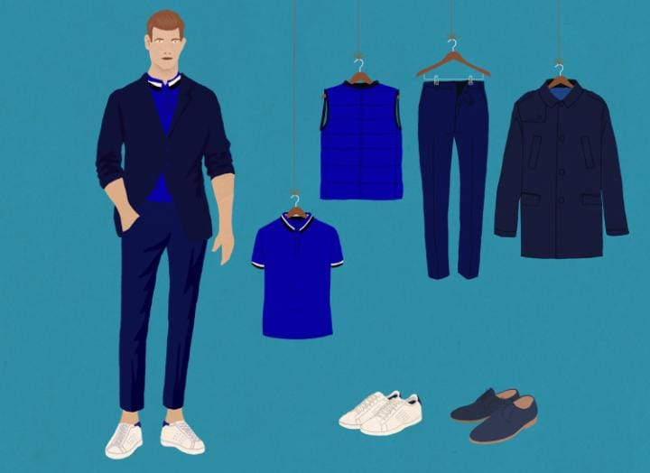 A sample of the uniforms for Joon's male flight attendants