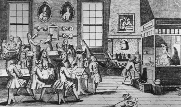 Rows of well-dressed men in periwigs would sit around rectangular wooden tables strewn with every type of media imaginable