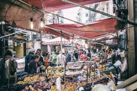 A market in bustling Palermo