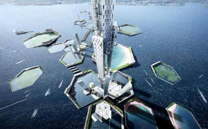 The tower will be surrounded by islands forming part of the Next Tokyo development