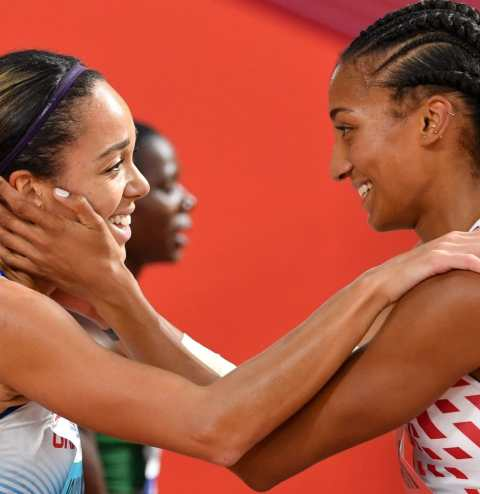 Katarina Johnson-Thompson is congratulated by rival Nafi Thiam after winning gold