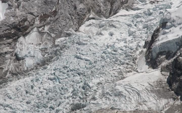 The Everest Ice Fall, a chaotic glacial zone in which many climbers have lost their lives