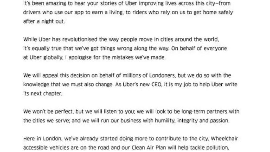 Uber's open letter