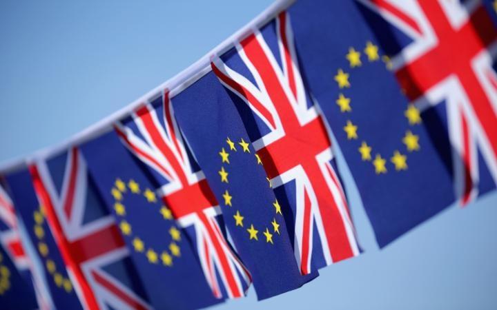 EU and union jack flags
