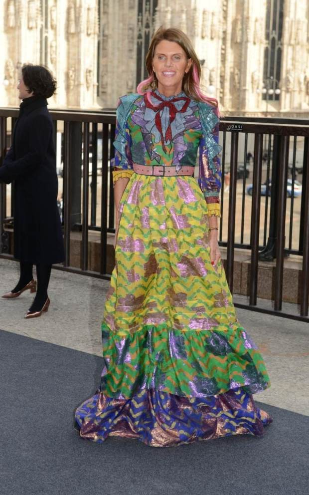 At the Gucci show Anna Dello Russo wore a tired Gucci floral dress with sequin bow detailing at the collar