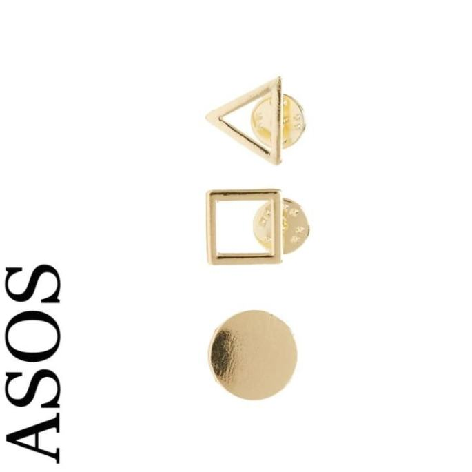Pack of three everyday shape badges, £8, ASOS