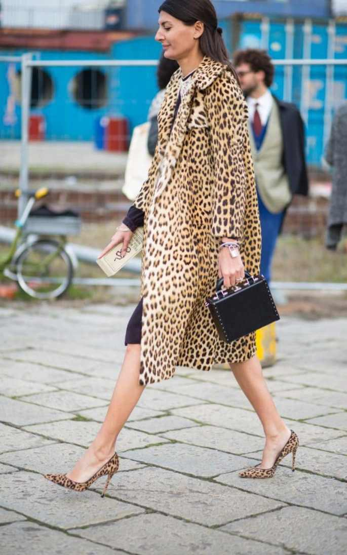 Giovanna Battaglia goes on the prowl in leopard print, which never fails to add feline allure