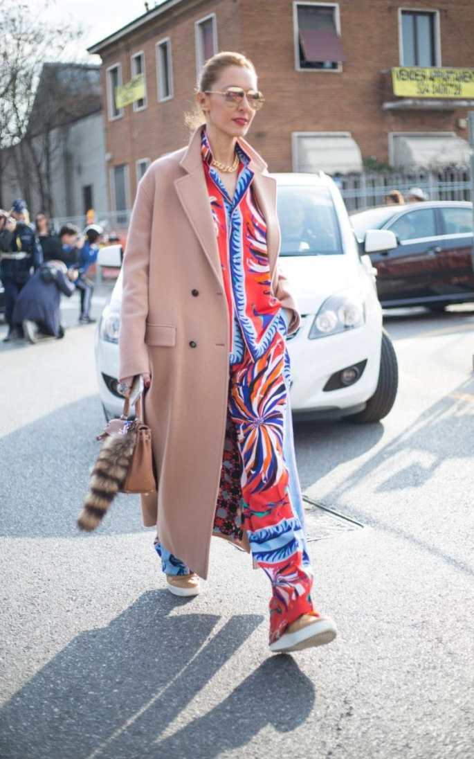 What to wear over your riotous multi-coloured patterned pyjama set? A chic camel coat. The perfect counterplay of maximal and minimal in one outfit