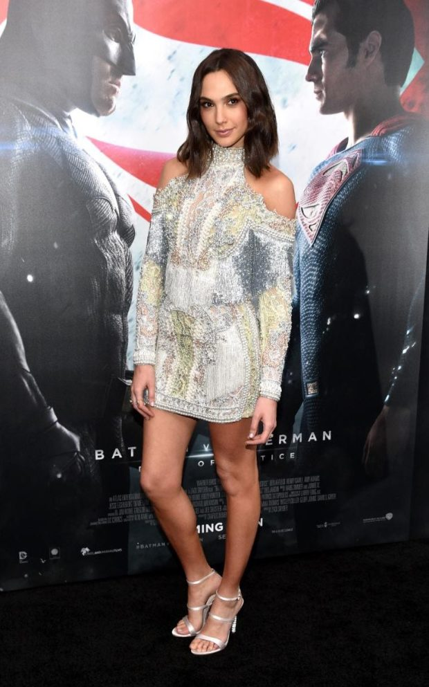 For the New York City premiere of the movie, Gadot showed off her model figure in a heavily embellished, tassled mini dress by French fashion house Balmain