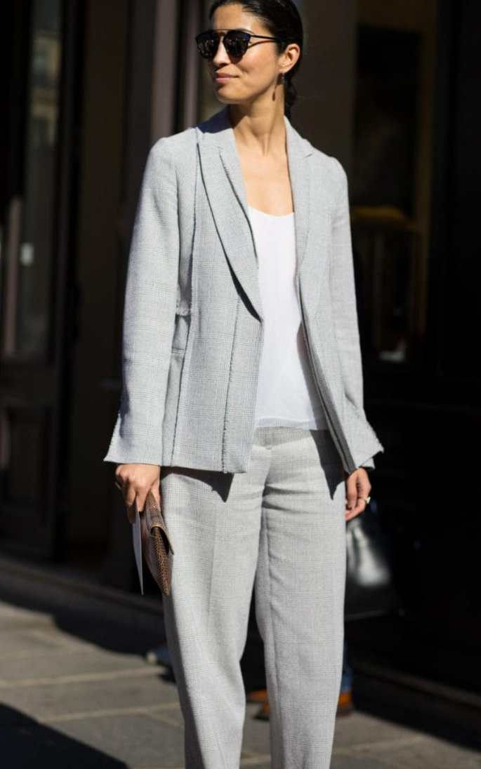 Black tailoring can be severe, so instead opt for grey on grey.