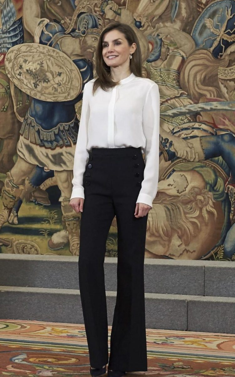Queen Letizia Of Spain Wears Flattering Wide Leg Trousers Amp A Cream Blouse To Attend An Event At