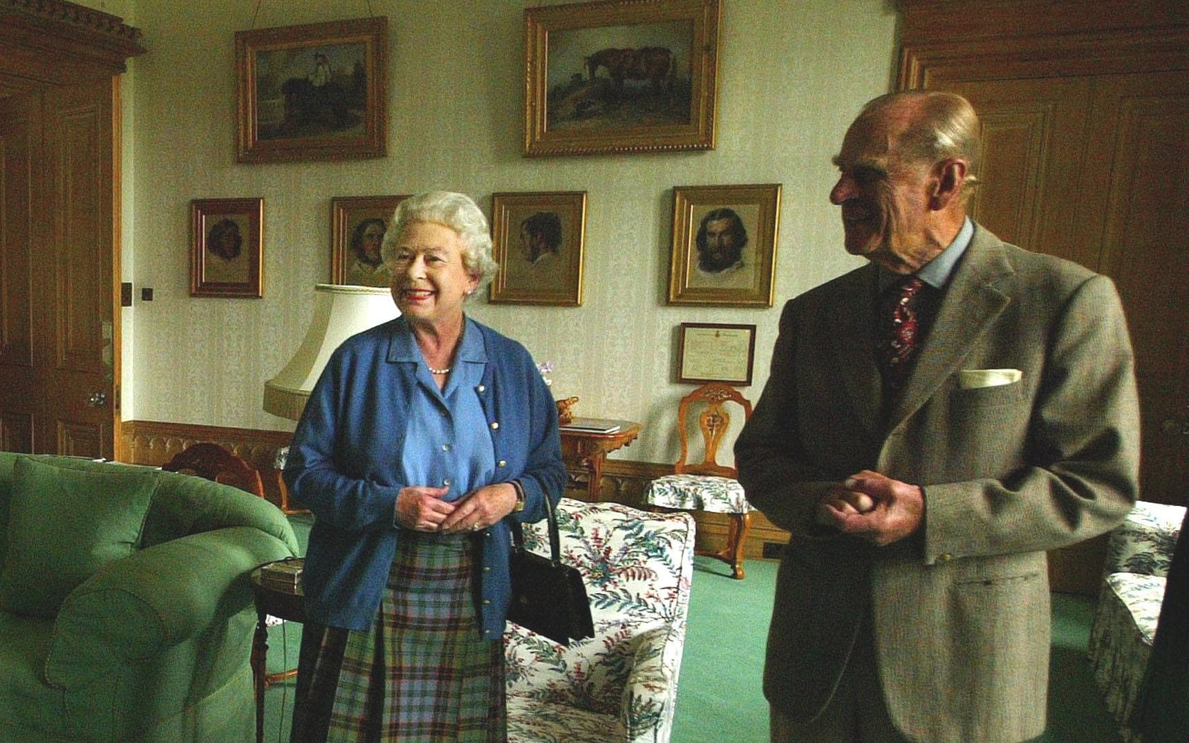 Queen Elizabeth II and the Duke of Edinburgh wait to receive the President of Malta, Dr Edward Fenech-Adami and his wife, Mary at Balmoral Castle