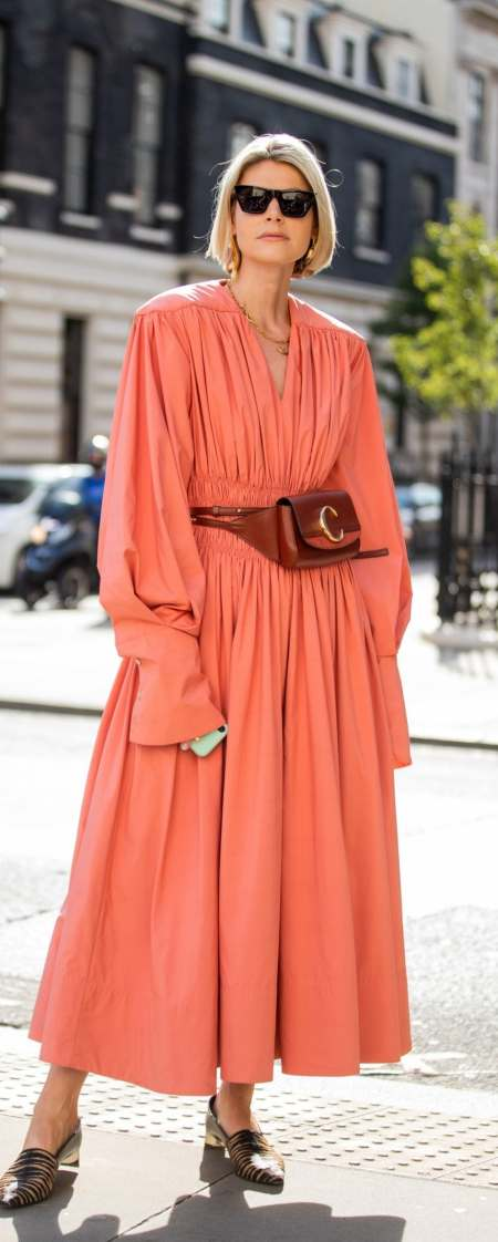 Coral dress | The best street style looks from London Fashion Week ...