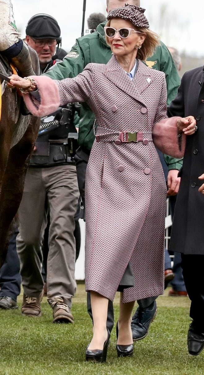 Marie Donnelly at the 2019 Cheltenham Festival wearing a pink checked coat