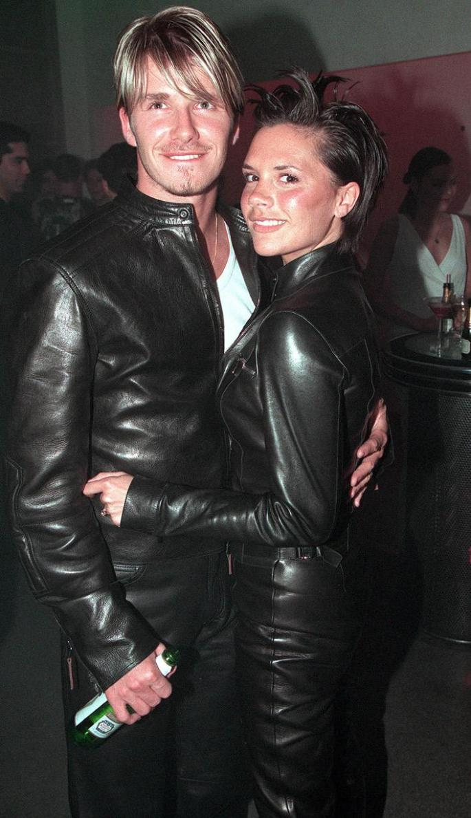 David and Victoria Beckham matching leather