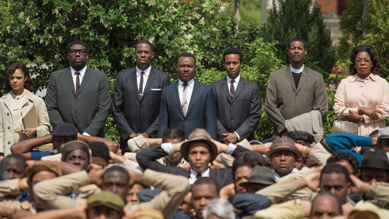 David Oyelowo (centre) as Martin Luther King Jr in Ava DuVernay's Selma, flanked by Tessa Thompson (Diane Nash), Omar Dorsey (James Orange), Colman Domingo (Ralph Abernathy), André Holland (Andrew Young), Corey Reynolds (Rev CT Vivian) and Lorraine Toussaint (Amelia Boynton)