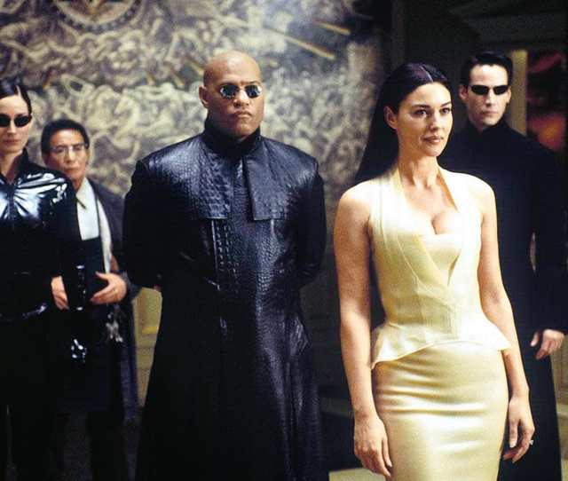 Monica Bellucci In The Matrix Reloaded 2003 With Laurence Fishburne And Keanu Reeves