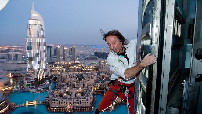 Alain Robert free-climbing the Burj Khalifa