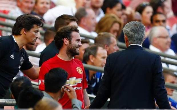 Juan Mata did speak to Manchester United manager Jose Mourinho after the substitution and managed to muster a smile