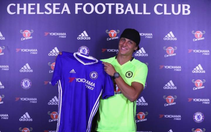 COBHAM, ENGLAND - AUGUST 31: David Luiz is unveiled as Chelsea's new signing at Chelsea Training Ground on August 31, 2016 in Cobham, England
