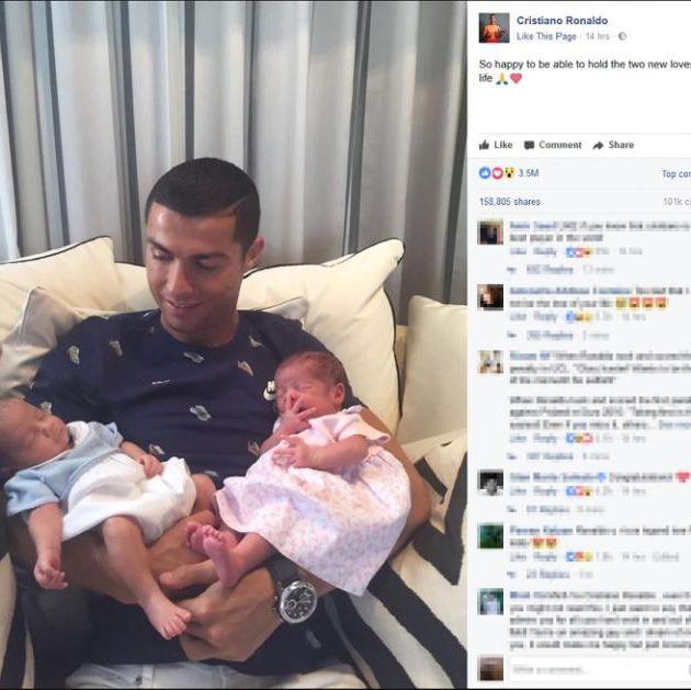 Cristiano Ronaldo carries his new born twins