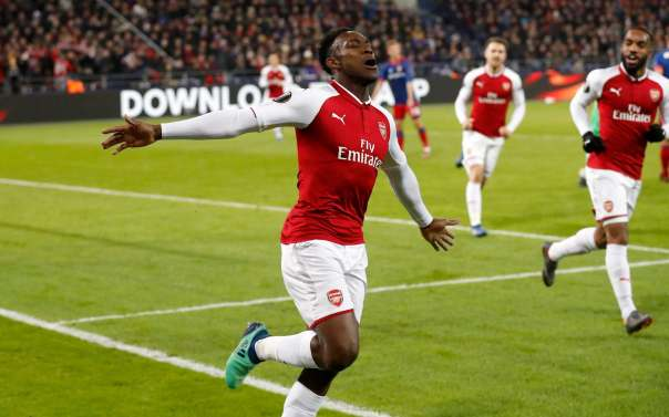 Danny Welbeck celebrates scoring for Arsenal