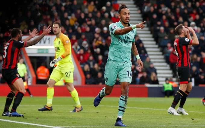 Arsenal's Pierre-Emerick Aubameyang celebrates scoring their second goal - Pierre-Emerick Aubameyang put Arsenal back on track