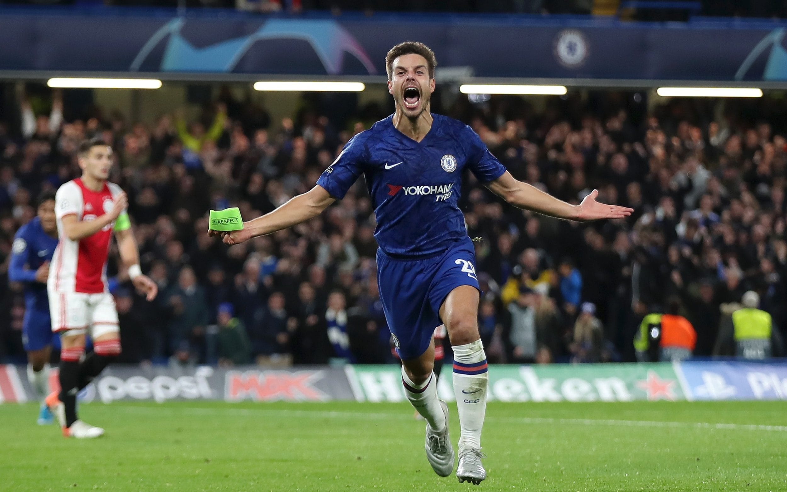 Cesar Azpilicueta of Chelsea celebrates after scoring his team's fifth goal which is later disallowed during the UEFA Champions League group H match between Chelsea FC and AFC Ajax