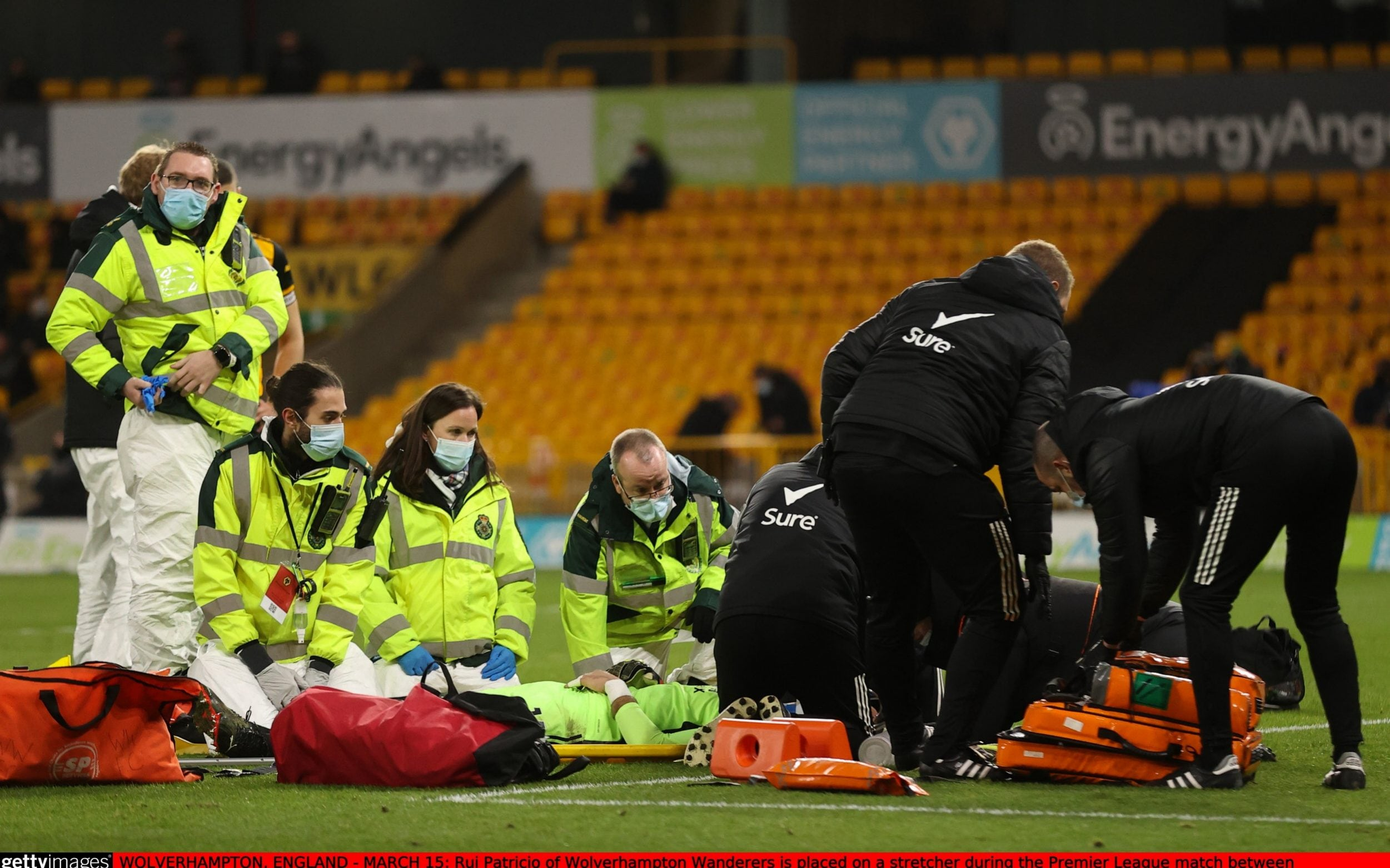 Rui Patricio of Wolverhampton Wanderers is placed on a stretcher