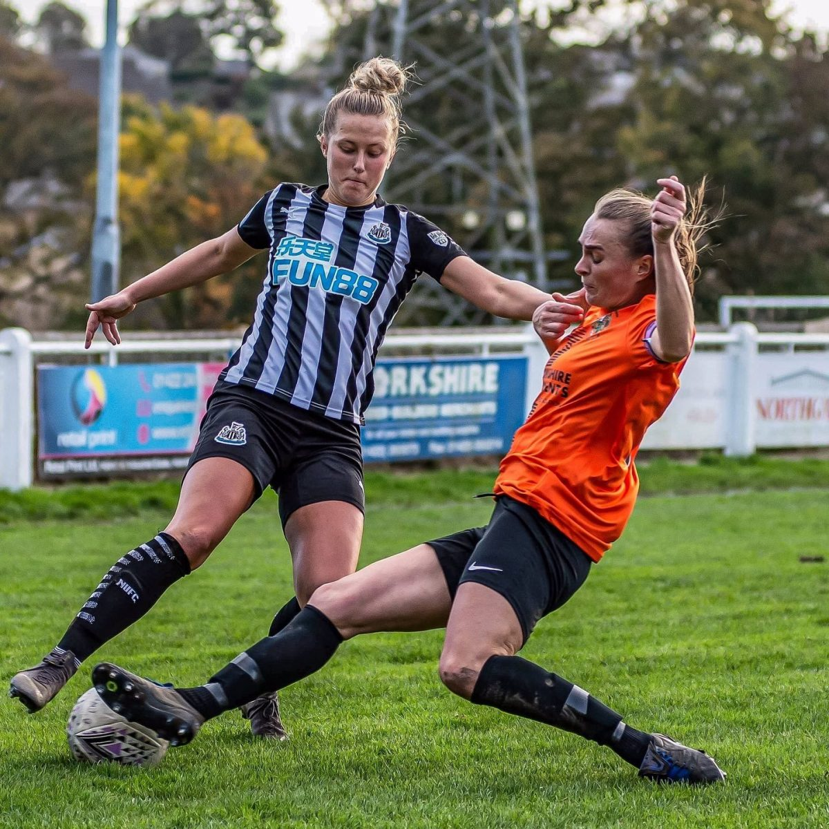 Brighouse's captain, Annabelle Cass, in action against Newcastle.
