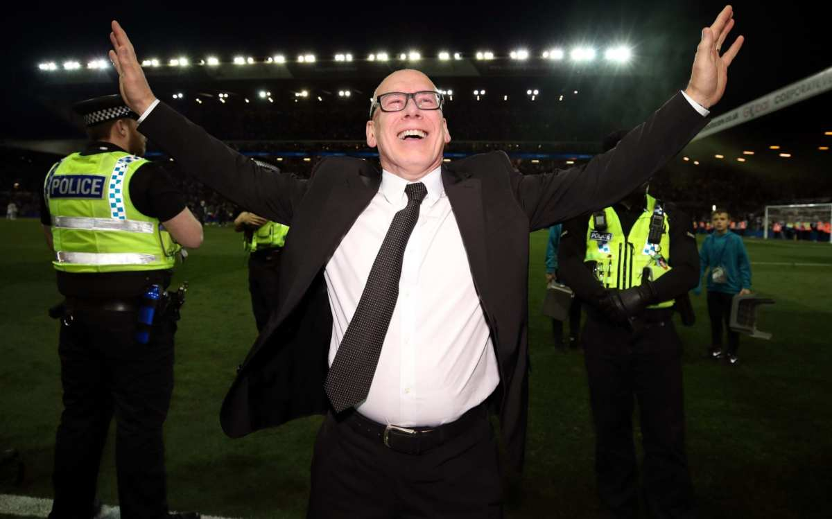 Derby County owner Mel Morris celebrates victory after the Sky Bet Championship Play-Off, Semi Final, Second Leg match at Elland Road, Leeds
