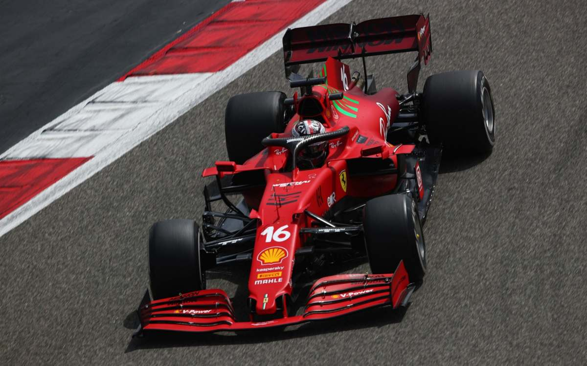 Charles Leclerc of Monaco driving the (16) Scuderia Ferrari SF21 on track during Day One of F1 Testing at Bahrain International Circuit on March 12, 2021 in Bahrain, Bahrain